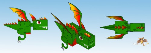 Dragon Papercraft 3 View S01