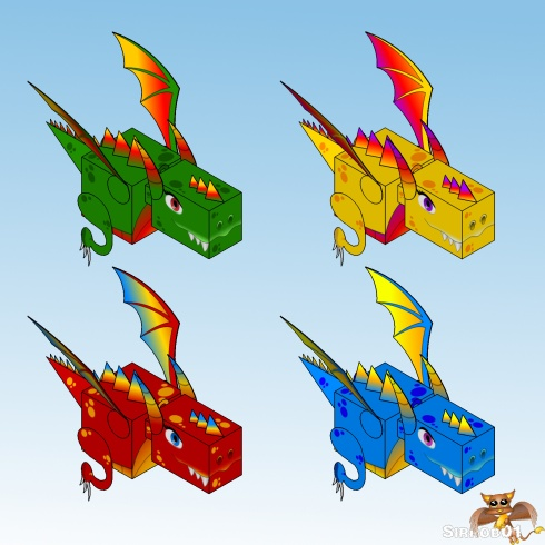 Dragon Papercraft Christmas Colors S01