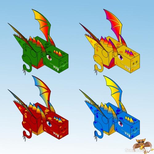 Dragon Papercraft Christmas Colors S01
