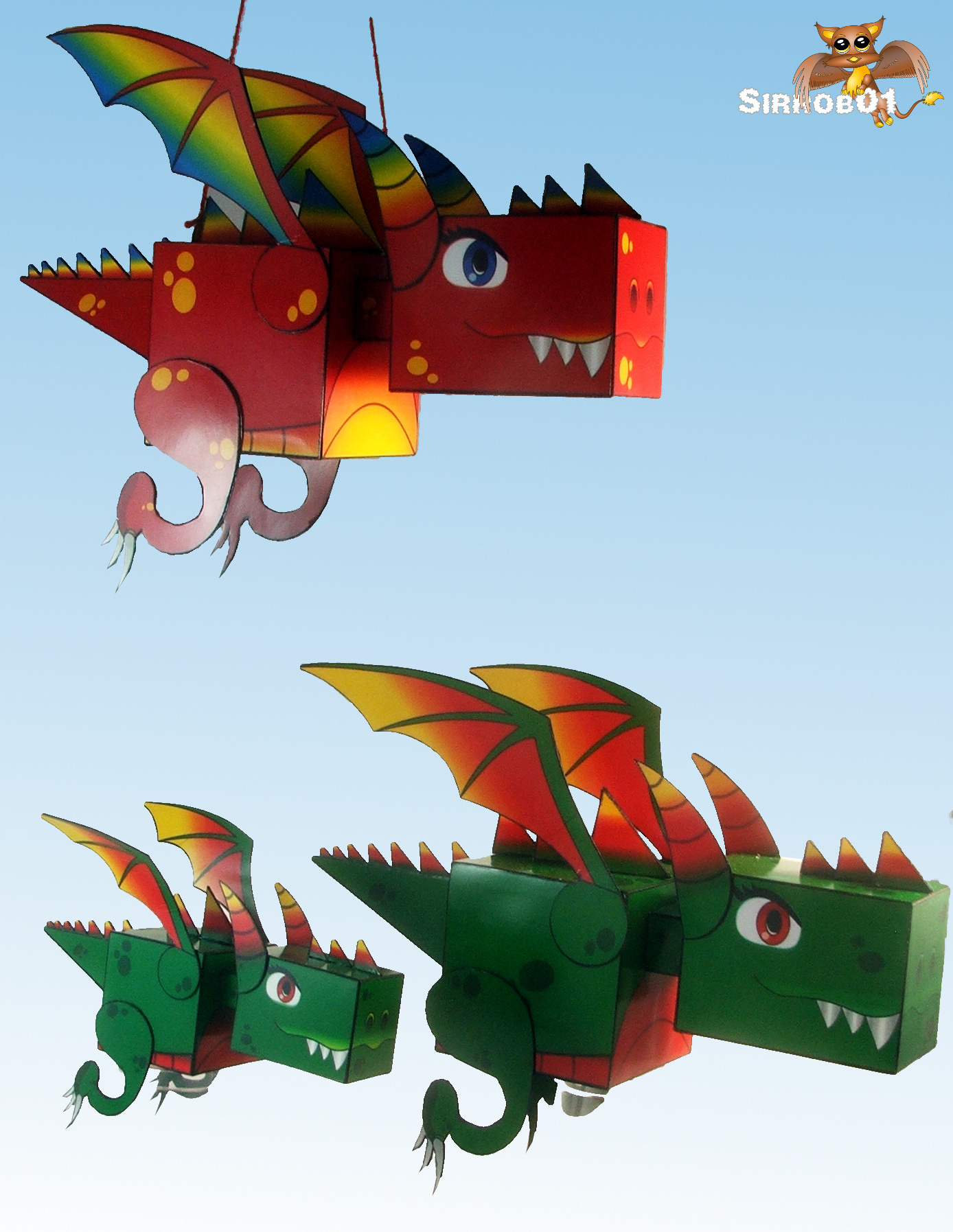 Kuboid Dragon Paper Toy